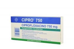 Ciproxina 750 mg Caja Con 6 Comprimidos Recubiertos Rx2