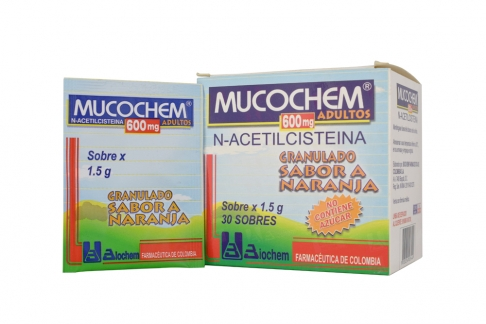 Mucochem Adultos 600 mg Caja Con 30 Sobres Con 1.5 g C/U – Sabor Naranja Rx