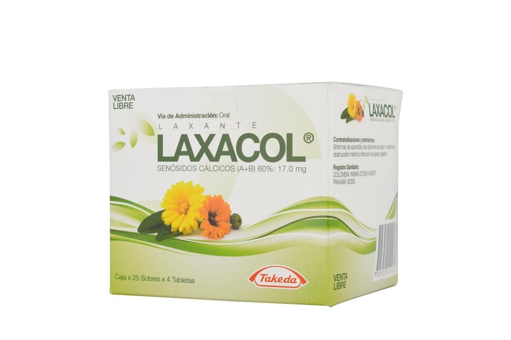 Laxacol 17 mg Caja Con 25 Sobres Con 4 Tabletas c/u