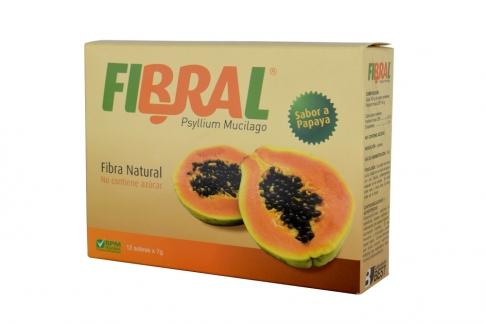 Fibral Polvo Caja Con 12 Sobres De 7 g - Sabor A Papaya