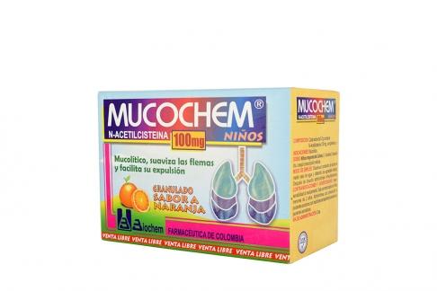 Mucochem Granulado Niños 100 mg Caja Con 30 Sobres - Sabor Naranja