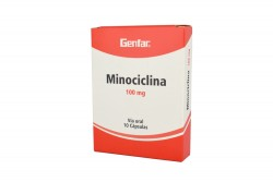 Minociclina 100 mg Caja Con 10 Cápsulas Rx2
