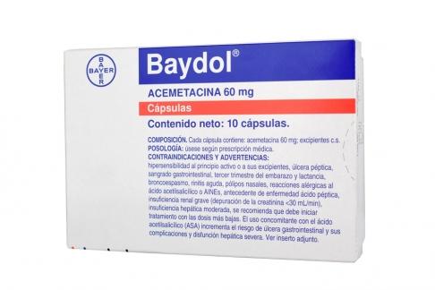 Baydol 60 mg Caja X 10 Cápsulas Rx