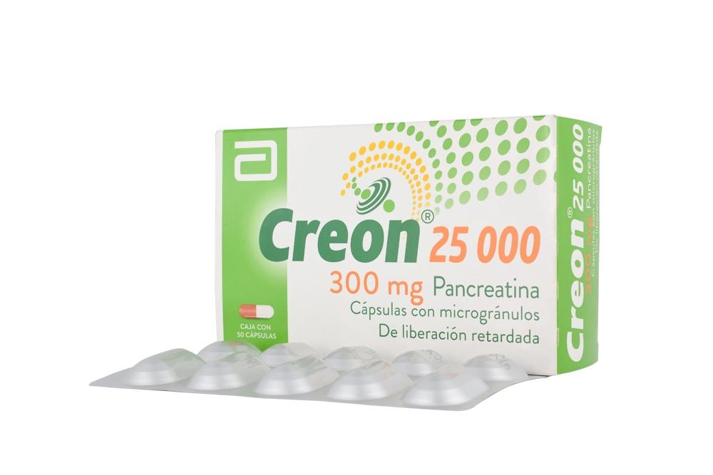 Creon 25000 / 300 mg Caja Con 50 Cápsulas De Liberación Retardada Rx