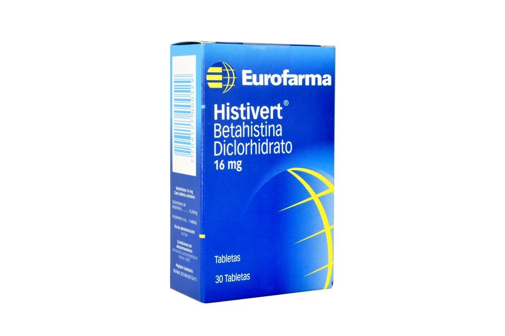 Histivert 16 mg Caja Con 30 Tabletas Rx