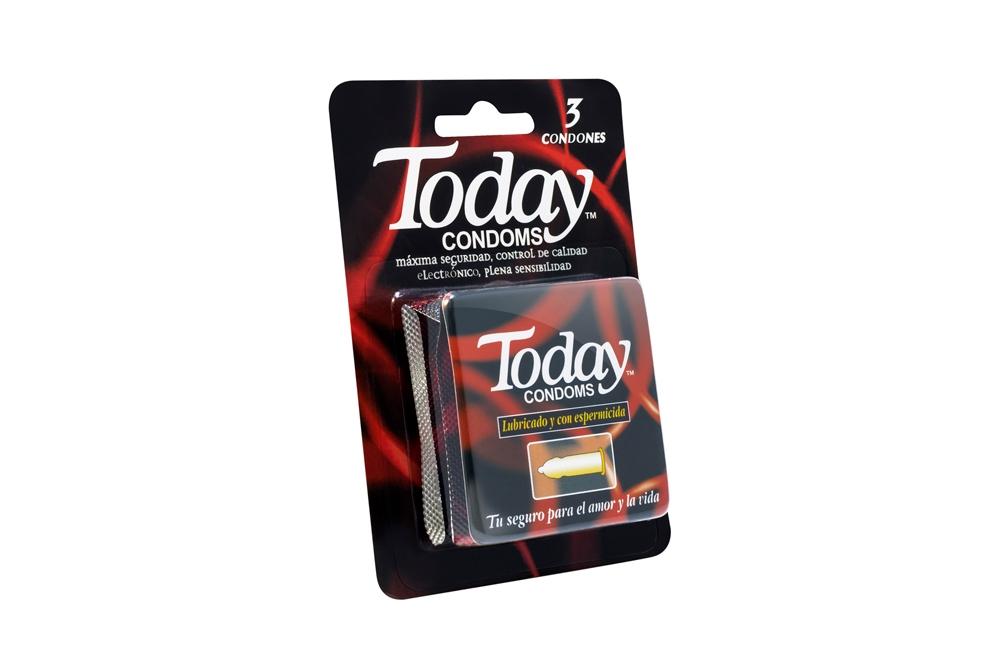Condón Today Lubricado & Con Espermicida Empaque Con 3 Unidades