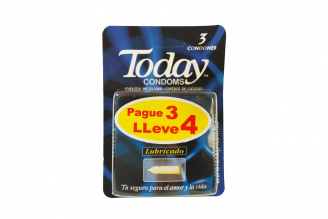 Preservativo Today Lubricado Pague 3 Lleve 4 unidades