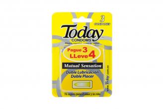 Condones Today Mutual Sensation Empaque Con 4 Unidades