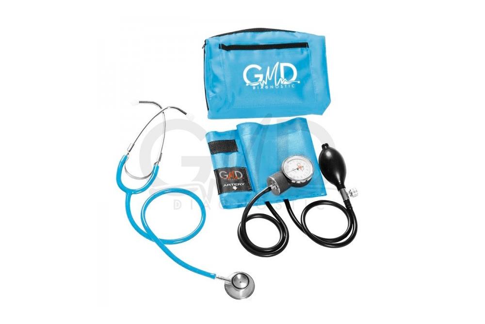 Kit de Tensiómetro y Fonendoscopio Doble Campana GMD - Azul Cielo