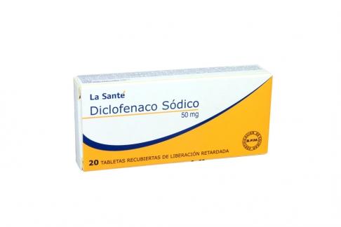 Diclofenaco Sódico 50 mg Caja Con 20 Tabletas Recubiertas De Liberación Retardada Rx