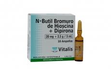 Hioscina Dipirona 20 mg / 2.5 g/ 5 mL Caja Con 10 Ampollas Rx
