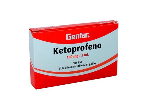 Ketoprofeno 100 mg / 2 mL Caja Con 6 Ampollas Rx