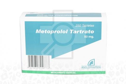 METOPROLOL TARTRATO 50 MG - 250 TABLETAS Rx