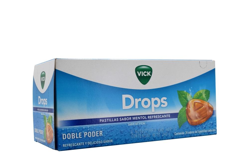 Vick Drops Pastillas Sabor Mentol Caja Con 24 Sobres Con 5 Unidades C/U