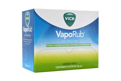 Vick VapoRub Ungüento Tópico Caja Con 12 Latas Con 12 g C/U