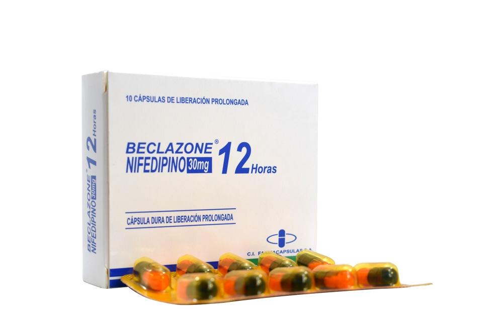 Beclazone Nifedipino 30 mg Caja Con 10 Cápsulas De Liberación Prolongada Rx
