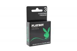 Condones Playboy Sensitivo Ultradelgado Caja Con 3 Unidades