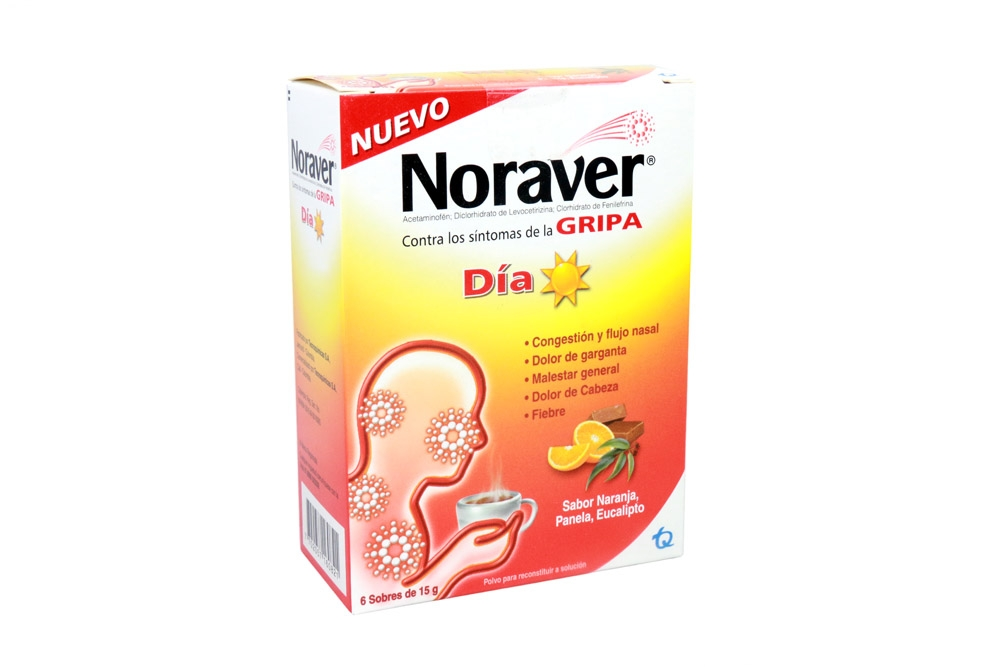 Noraver Gripa Día Polvo Caja Con 6 Sobres - Sabor Panela Limón.