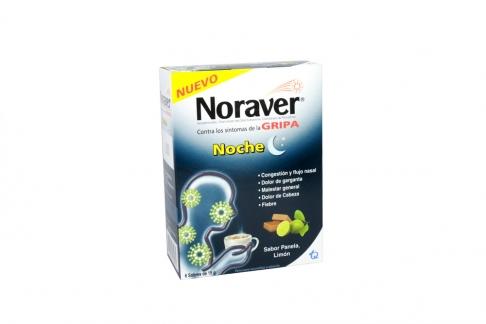 Noraver Gripa Noche Caja Con 6 Sobres Con 15 g C/U - Sabor Panela, Limón