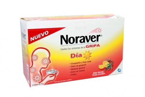 Noraver Gripa Día 15 g Caja Con 24 Sobres - Sabor Naranja, Panela, Eucalipto