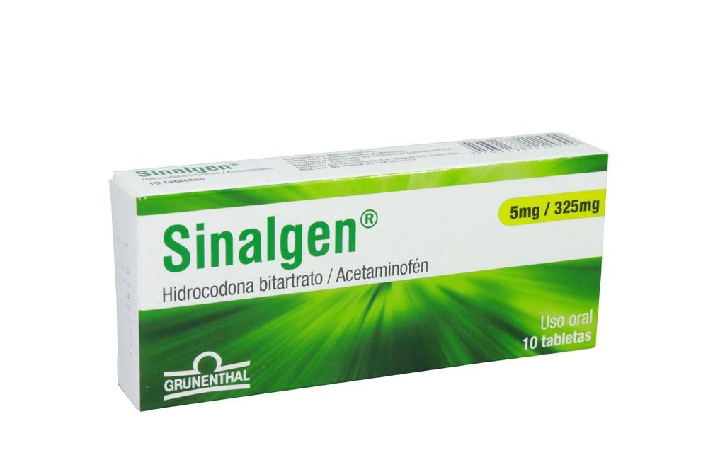 Sinalgen 325 / 5 mg Caja Con 10 Tabletas Rx