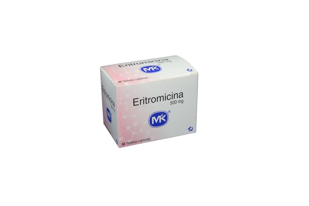 Eritromicina 500 mg Caja Con 50 Tabletas Cubiertas Rx2