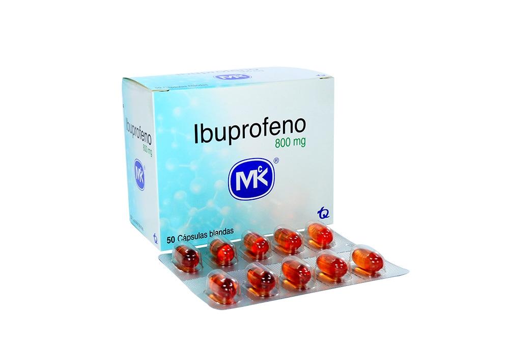 Ibuprofeno 800 mg MK Caja Con 50 Cápsulas Blandas