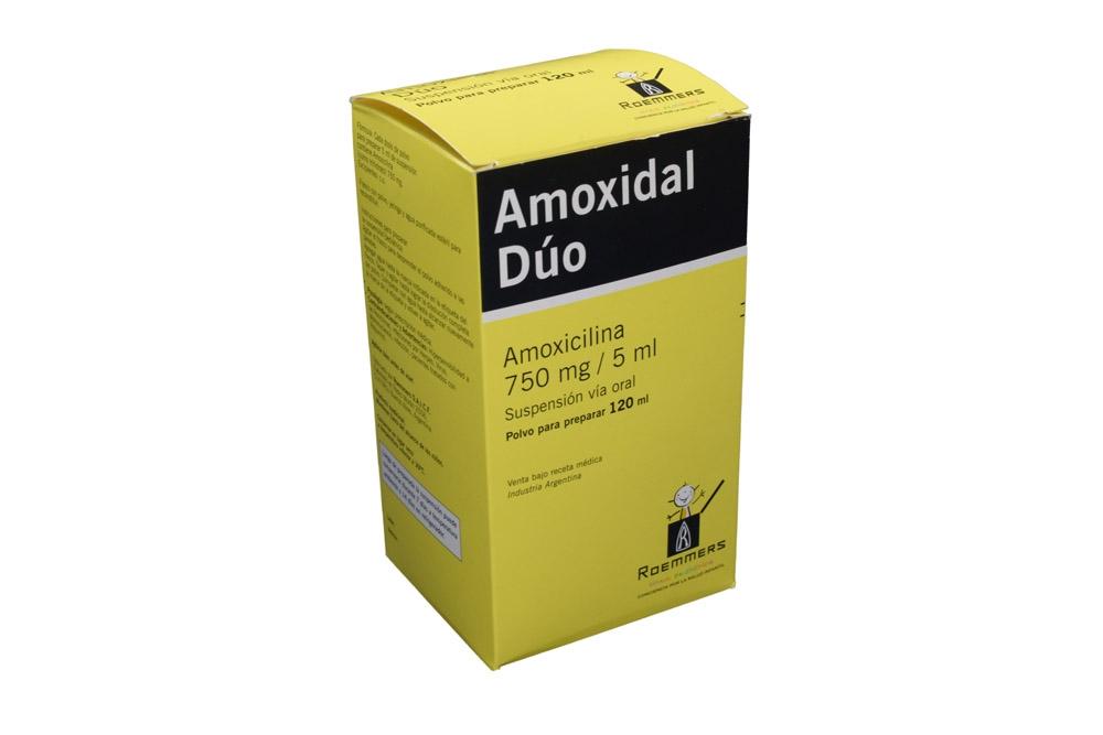 Amoxidal Dúo Suspensión 750 mg Frasco Con 120 mL Rx