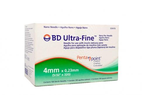Aguja Nano BD Ultra Fine 4mm x 0.23 mm Caja Con 100 Unidades