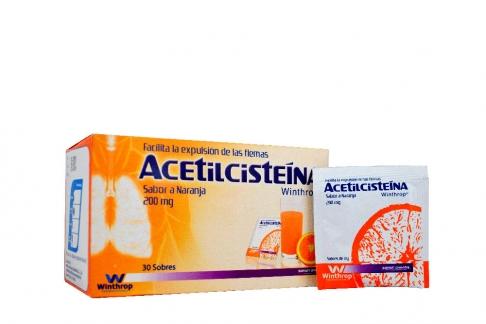 Acetilceisteina 200 mg Polvo Caja Con 30 Sobres