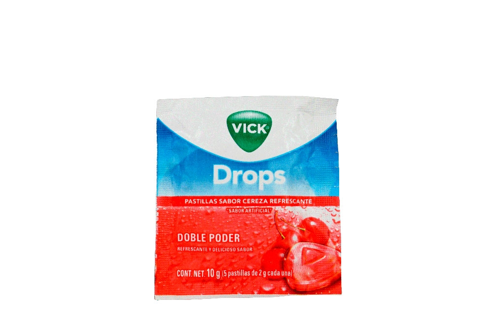 Vick Drops Sobre Con 5 Pastillas Con 2 g C/U – Sabor Cereza