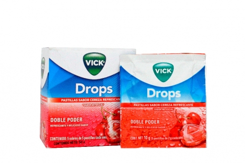 Vick Drops Pastillas Sabor Cereza Caja Con 5 Sobres Con 5 Unidades C/U