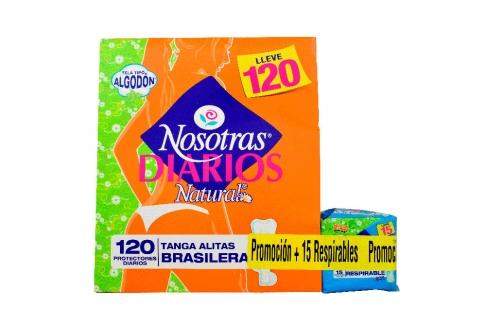 Protectores Diarios Natural Nosotras Tanga Caja Con 120 Unidades