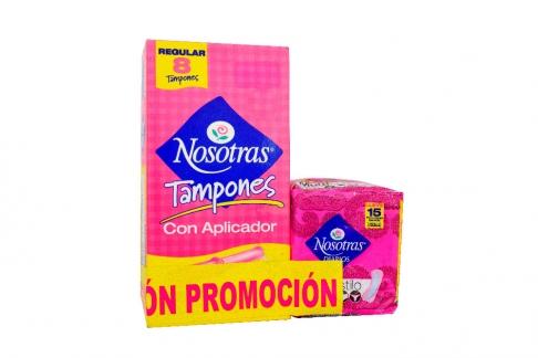 Tampones Nosotras Con Aplicador Caja Con 8 Unidades + Protectores Diarios Empaque Con 15 Unidades