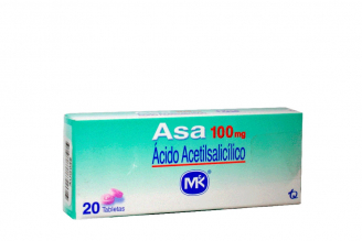 Asa Ácido Acetilsalicílico 100 mg Caja Con 20 Tabletas