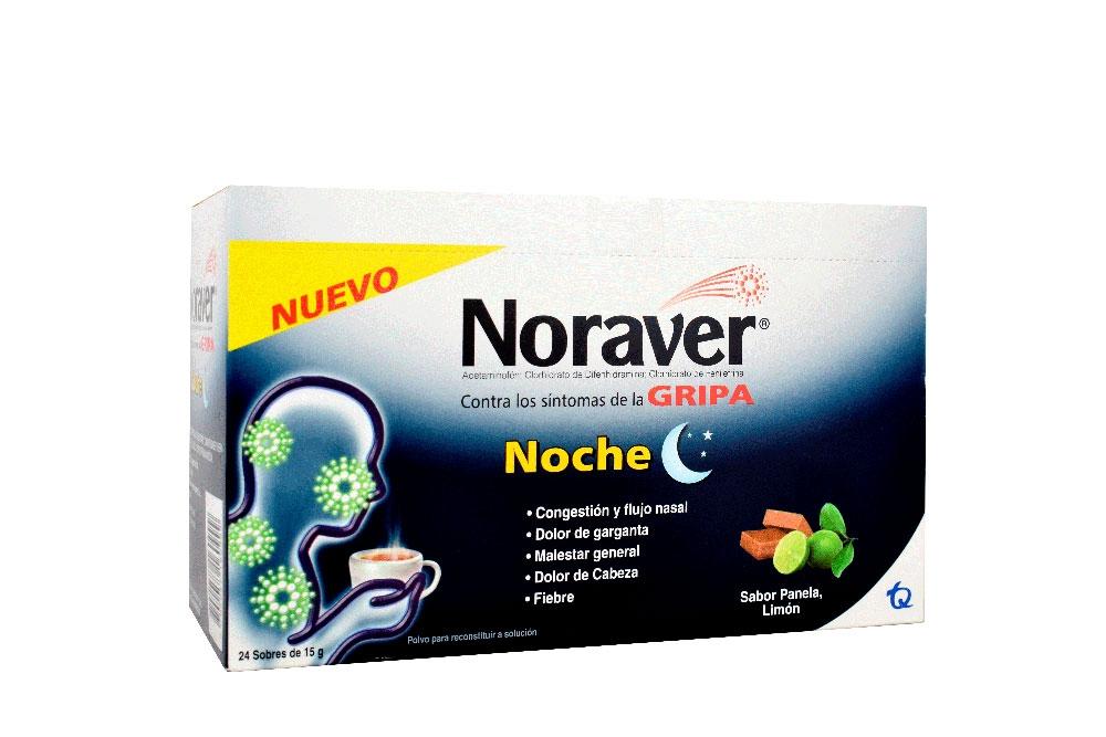 Noraver Gripa Noche Caja Con 24 Sobres Con 15 g C/U - Sabor Panela, Limón