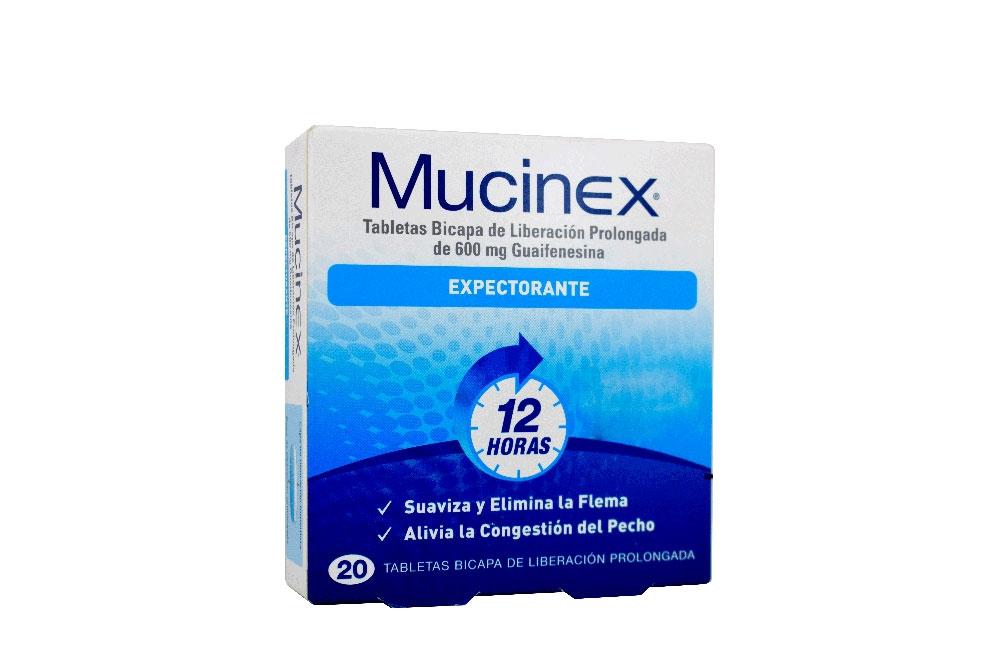 Mucinex 600 mg Caja Con 20 Tabletas De Liberación Prolongada