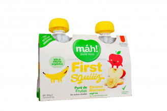 Frist Squiiiz Puré De Fruta 6 Meses 2 Pouches Con 180 g - Sabor Banana Manzana