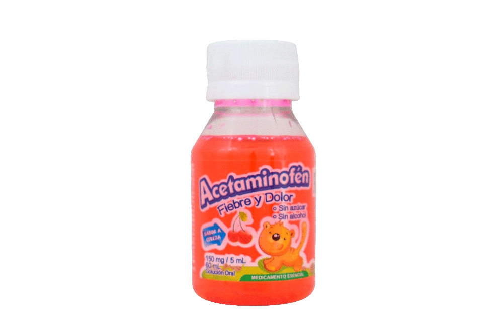 Acetaminofén Jarabe Sabor Cereza Frasco Con 60 mL