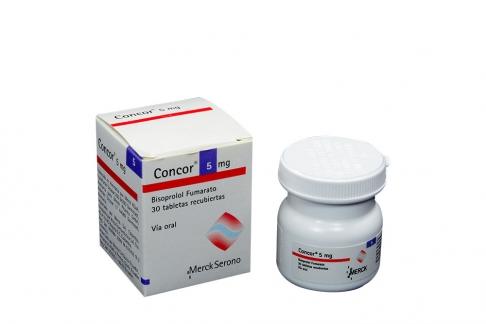 Concor Bisoprolol 5 mg Caja Con Frasco Con 30 Tabletas Recubiertas Con Película Rx