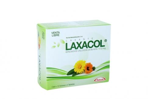 Laxacol 17.0 mg Caja Con 10 Sobres Con 4 Tabletas C/U