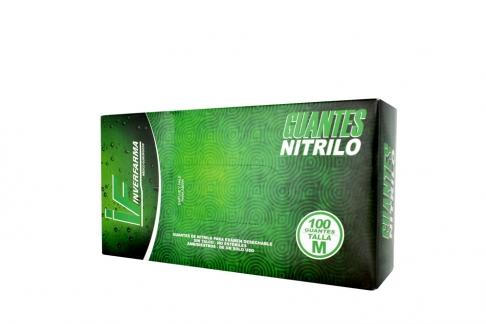 Guante Nitrillo Color Verde Talla L 7 1/2 Caja Con 100 Pares