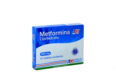Metformina 850 mg Caja x 10 Tabletas Rx4