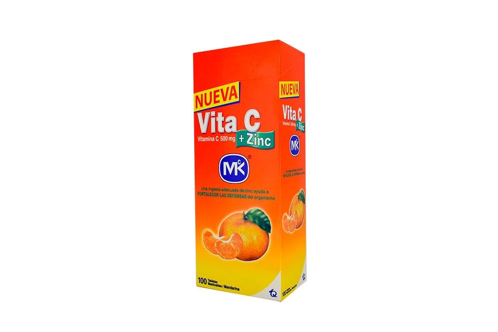Vita C + Zinc 500 mg Caja Con 100 Tabletas Masticables – Sabor Mandarina