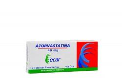 Atorvastatina 40 mg Caja Con 10 Tabletas Vía Oral Rx
