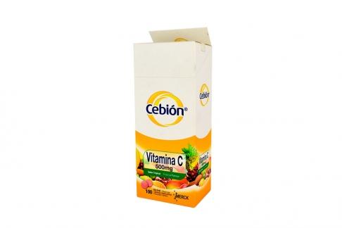 Cebión 500 mg Caja Con Frasco Con 100 Tabletas Masticables - Sabor Tropical
