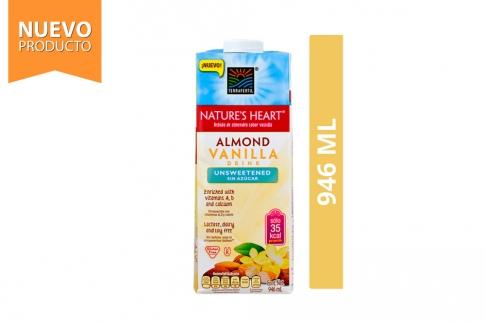 Almond Vanilla Drink Bebida Almendra Vainilla Sin Azúcar Nature's Heart Frasco Con 946 mL