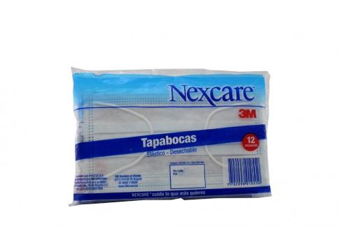 Tapabocas Elástico Desechable Nexcare 3M Bolsa Con 12 Unidades