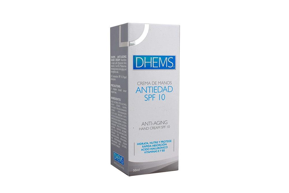 Dhems Crema Manos Antiedad SPF 10 Caja Con Tubo Con 50 mL - Hidrata