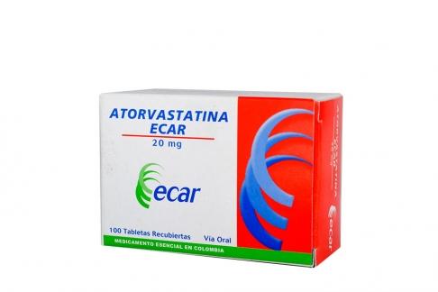 Atorvastatina Ecar 20 mg Caja Con 100 Tabletas Recubiertas Rx